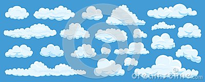 Set of cartoon clouds Vector Illustration
