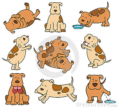 Set of cartoon dogs