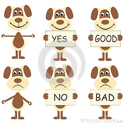 Set of cartoon dogs with signs