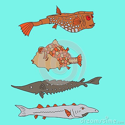 Set of cartoon fish