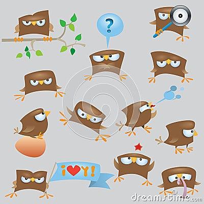 Set of cartoon funny sparrow