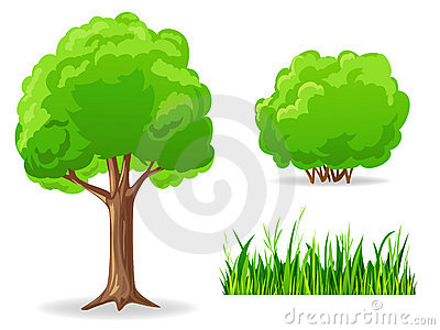 Stock Photo: Set of cartoon green plants. Tree, bush, grass.