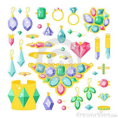 Set of cartoon jewelry accessories items vector illustration. Vector Illustration