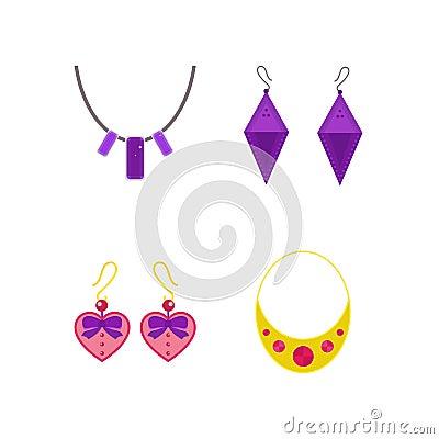 Set of cartoon jewelry accessories vector. Vector Illustration