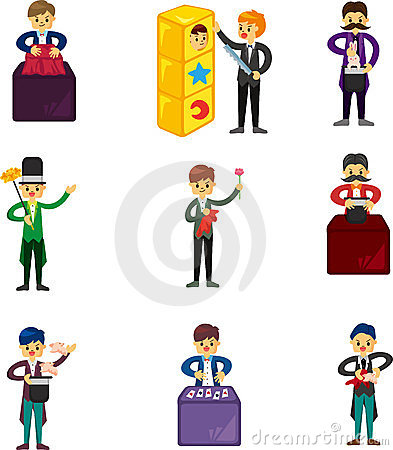 Set of Cartoon magician