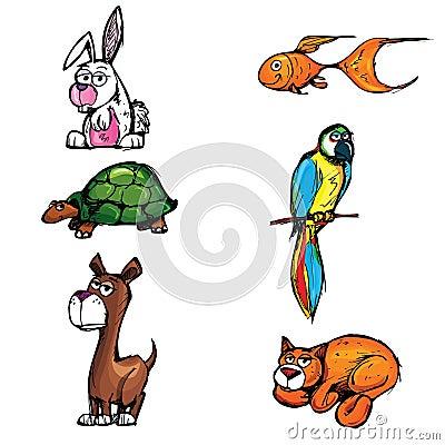 Set of cartoon pets