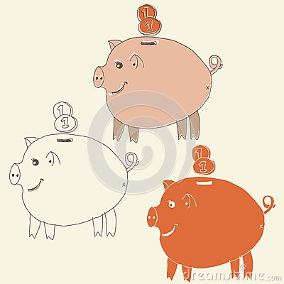 Set of cartoon pig money boxes