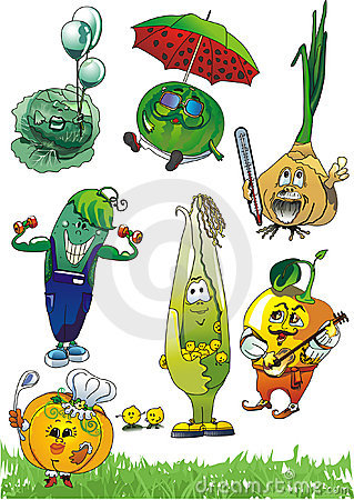 Set of cartoon vegetables /EPS