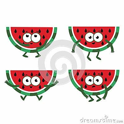 Free Set Cartoon Watermelon Royalty Free Stock Photography - 95690207