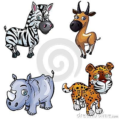 Set of cartoon wild animals