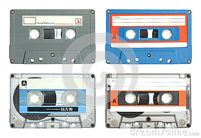Set of cassette tape isolated