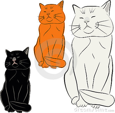 Set of cat illustrations