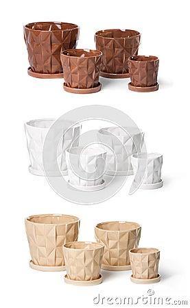 Set of ceramic flowerpots for indoor plants