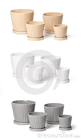 Set of ceramic flowerpots for indoor plants