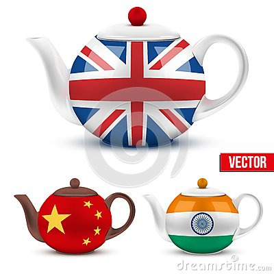 Set of ceramic teapot with flag British, India and