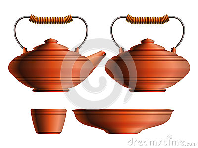 Set of ceramic teapot, sugar pot, cup and saucer