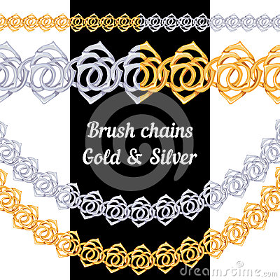 Set of chains metal brushes - gold and silver