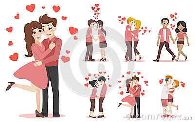 Set of characters cartoon couple of lover for love valentines day Vector Illustration