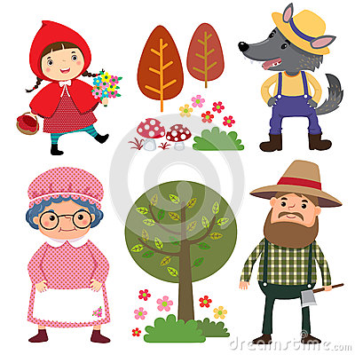 Set of characters from Little Red Riding Hood fairy tale Vector Illustration