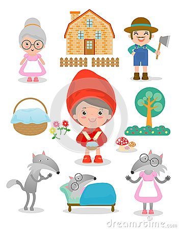 Set of characters from Little Red Riding Hood fairy tale on white background, Vector Illustration. Vector Illustration