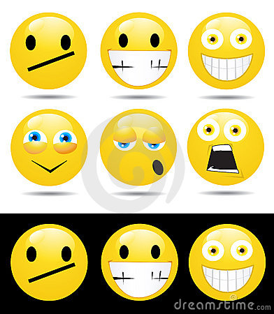 Set of characters of yellow emotions