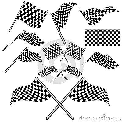 Set of checkered flag