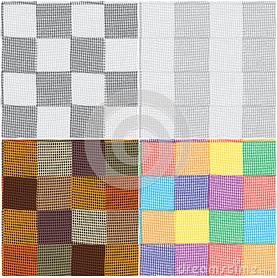 Set of checkered and striped seamless  patterns