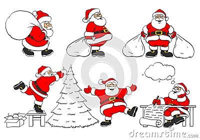 Set of cheerful christmas Santa Clauses