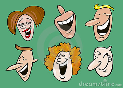 Set of cheerful faces