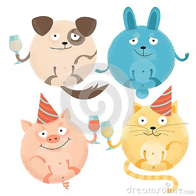 Set of 4 Cheerful round animals on holiday with glasses in festive caps. Happy smiling dog, rabbit, cat, pig. Flat textured Cartoon Illustration
