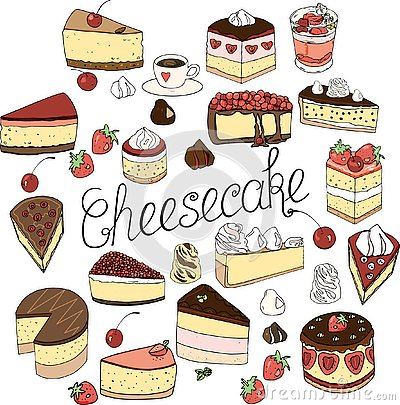 A set of cheesecake elements, cakes and pastries, doodle set drawn by hand Vector Illustration