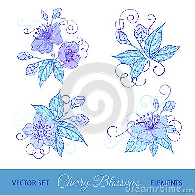 Set of cherry flowers
