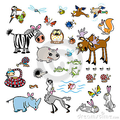 Set of childish cartoon wild animals