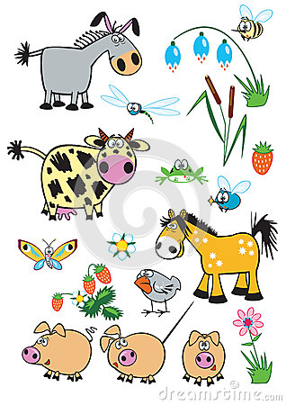 Free Set Childish Farm Animals Stock Image - 26496941