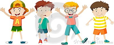 A Set of Children Expression Vector Illustration