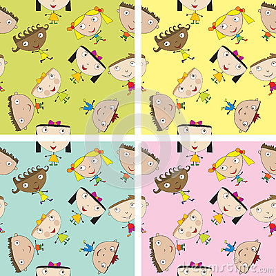 Set Of Children Pattern With Kids Stock Photography - Image: 24934502