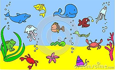 Set of children s icons of marine animals vector