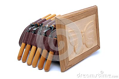 A set of chisels and woodcarving