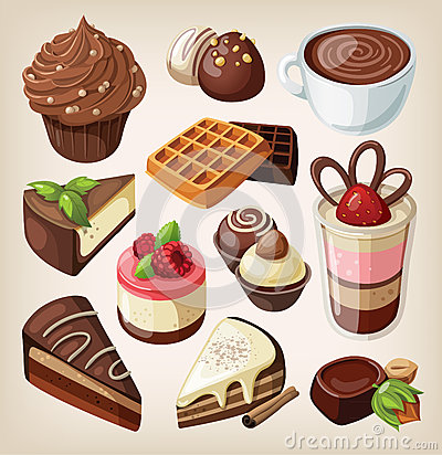 Set of chocolate food