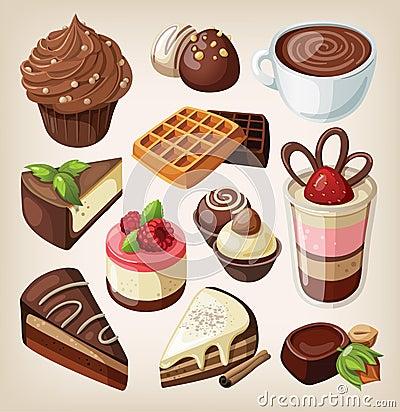 Set of chocolate food
