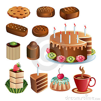 Set of chocolate sweets and cakes