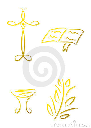 Set of christian icons (gold)