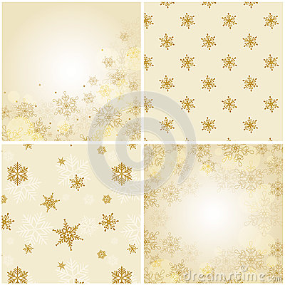 Set of christmas backgrounds with snowflakes.