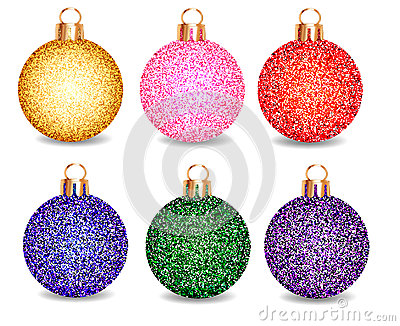 Set of Christmas balls on a white background