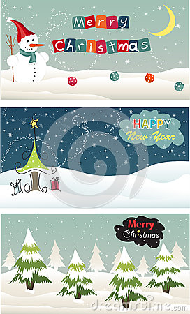 Set of Christmas banner