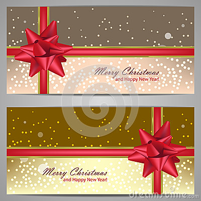 Set of christmas banners with sparks and red bow
