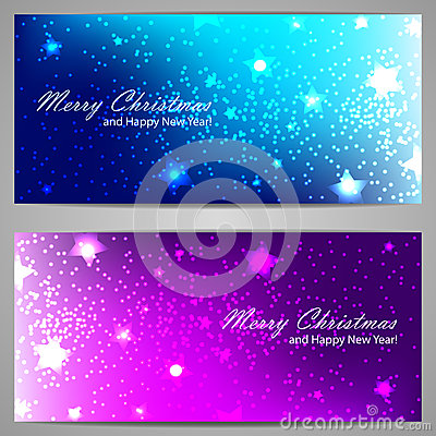 Set of Christmas banners with stars and sparks