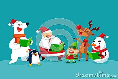 Set of Christmas Characters singing Christmas carols Vector Illustration