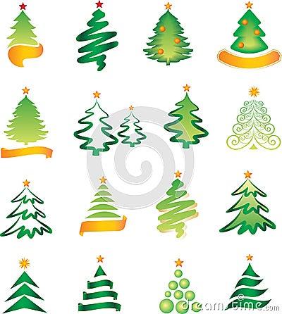 Set of christmas firs