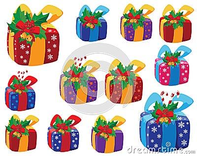 Set of Christmas gifts box